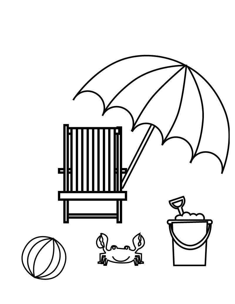 Пляж - Картинка для раскрашивания красками-гуашью