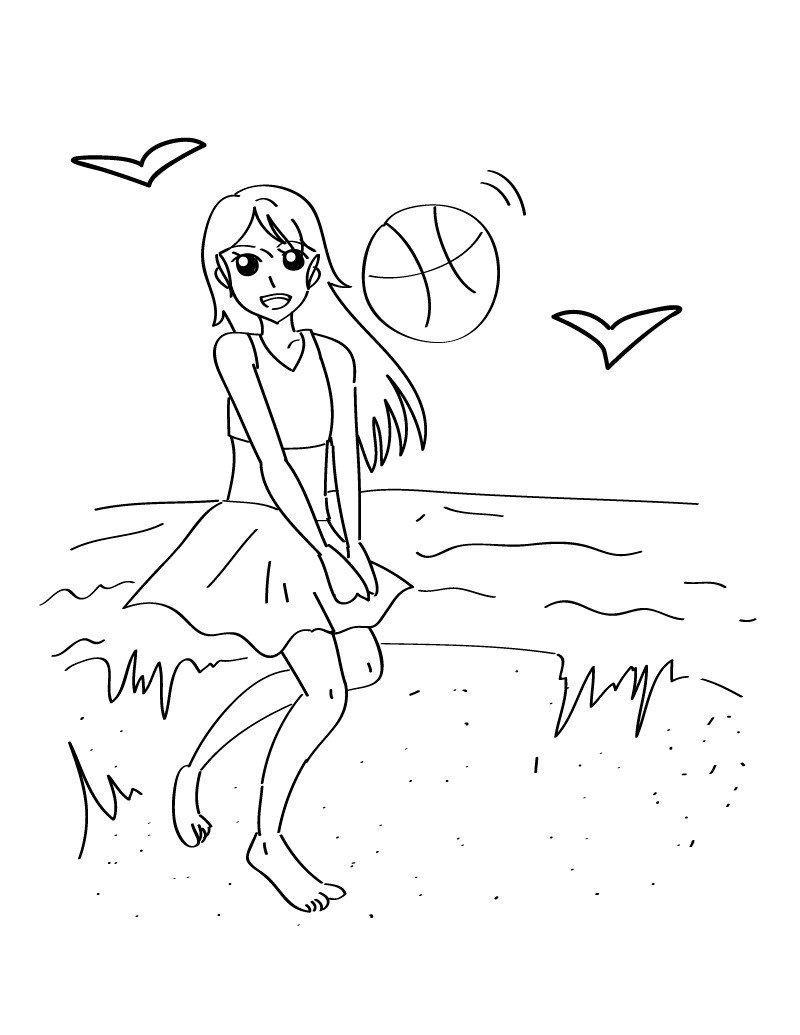 Пляжный воллейбол - Картинка для раскрашивания красками-гуашью
