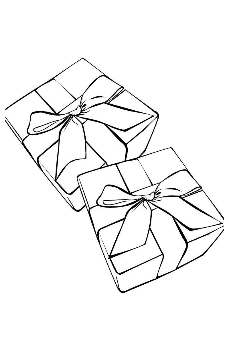 Подарочные коробки - Картинка для раскрашивания красками-гуашью