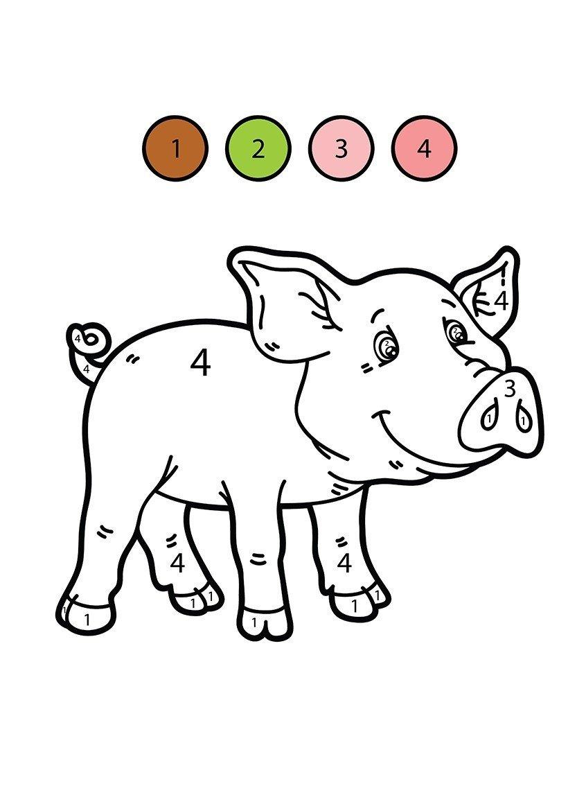 Поросенок по цифрам - Картинка для раскрашивания красками-гуашью