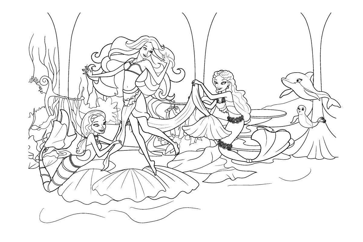 Праздник Русалки Барби - Картинка для раскрашивания красками-гуашью