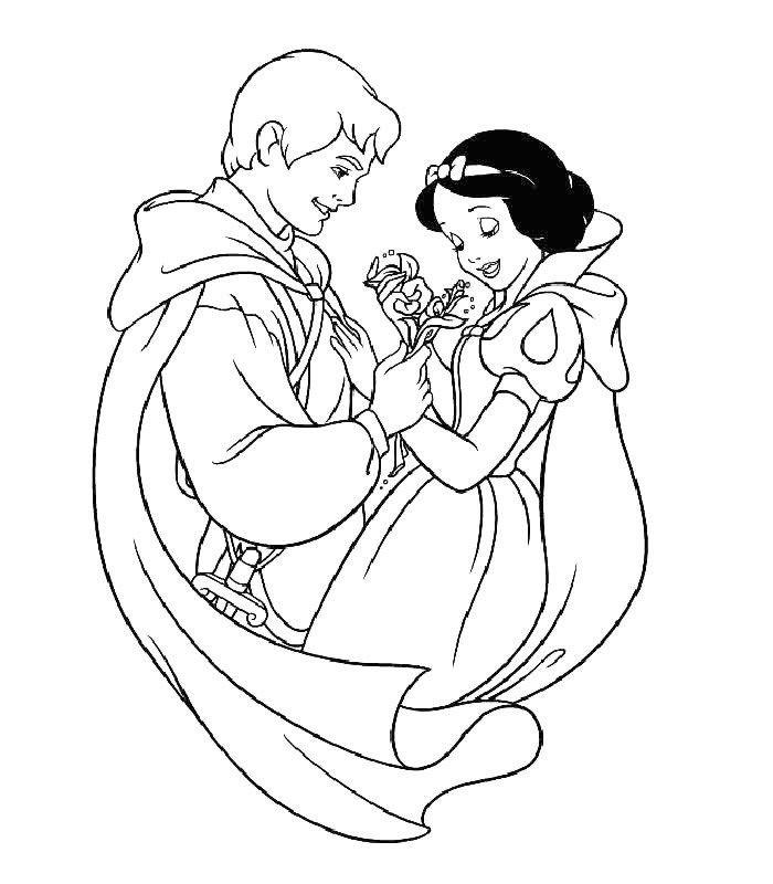 Принц подарил цветы Белоснежке - Картинка для раскрашивания красками-гуашью