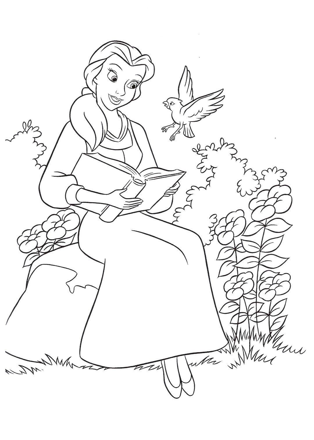 Принцесса и волшебная птичка - Картинка для раскрашивания красками-гуашью