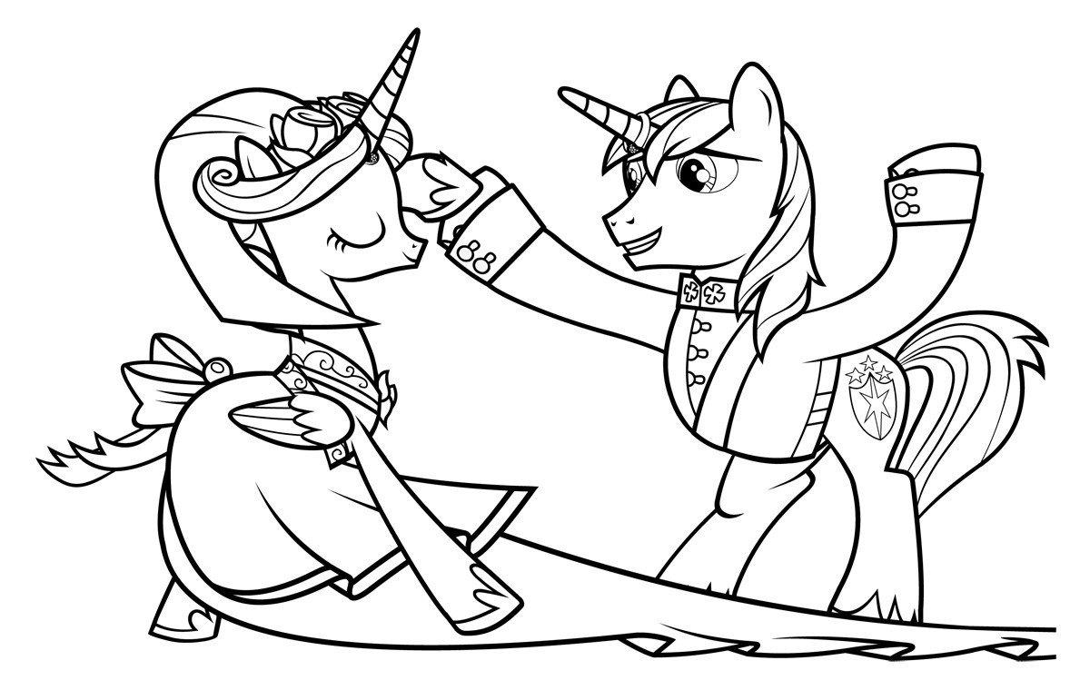 Принцесса Каденс и Шайнинг Армор - Картинка для раскрашивания красками-гуашью