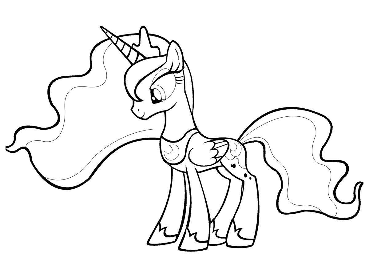 Принцесса Луна - Картинка для раскрашивания красками-гуашью