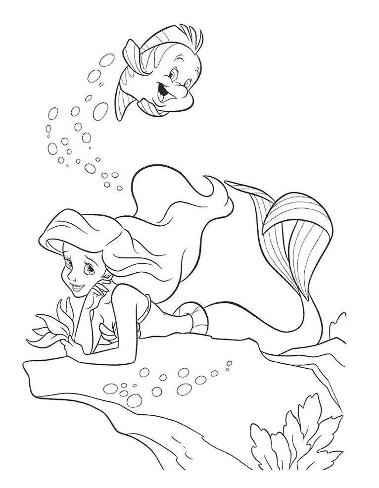 Принцесса Русалка - Картинка для раскрашивания красками-гуашью