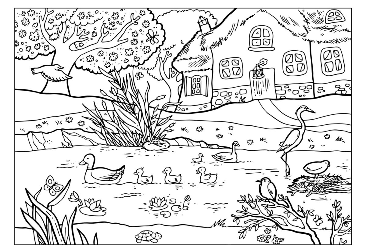 Природа весной - Картинка для раскрашивания красками-гуашью