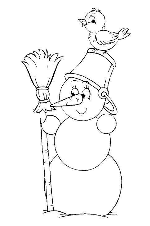 Птичка сидит на голове у Снеговика - Картинка для раскрашивания красками-гуашью