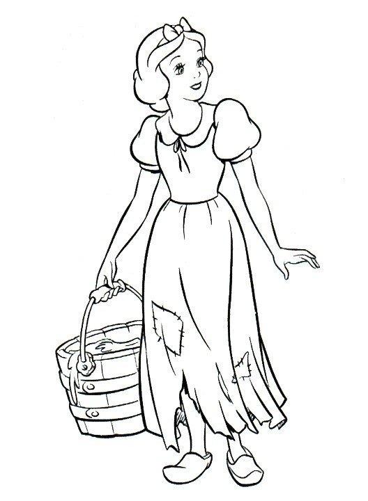 Картинка для раскраски «Работящая Белоснежка»