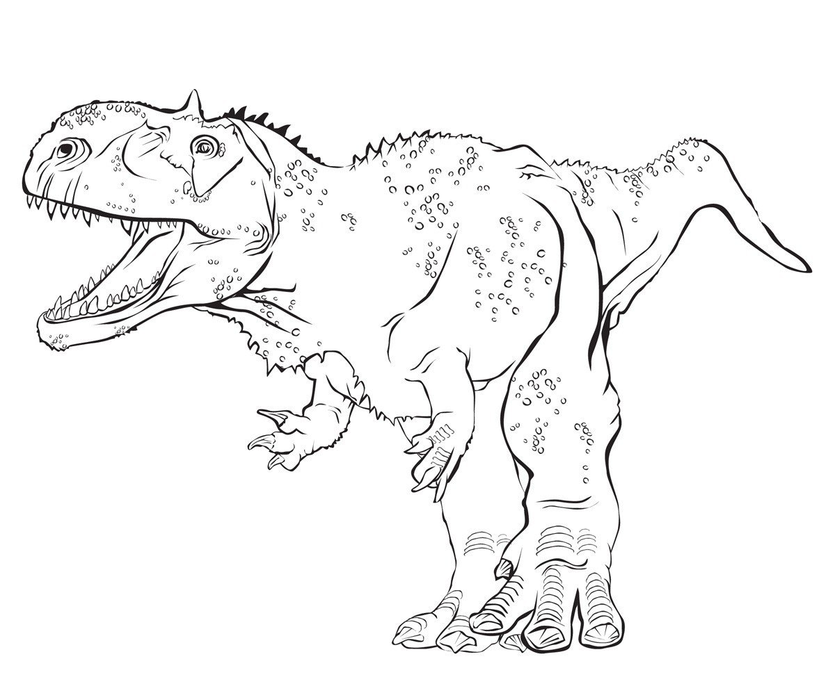 Раджазавр - Картинка для раскрашивания красками-гуашью