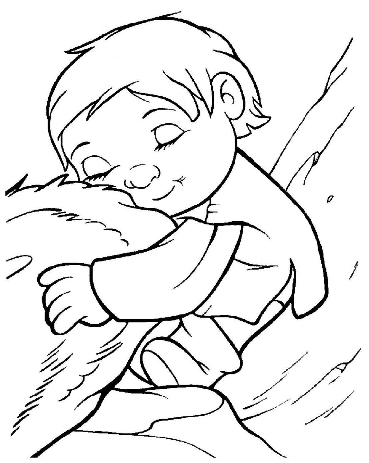 Ребёнок обнимает Мэнни - Картинка для раскрашивания красками-гуашью