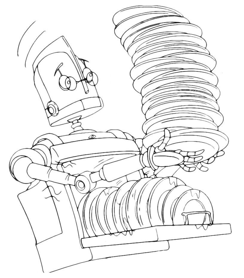 Робот несет тарелки - Картинка для раскрашивания красками-гуашью