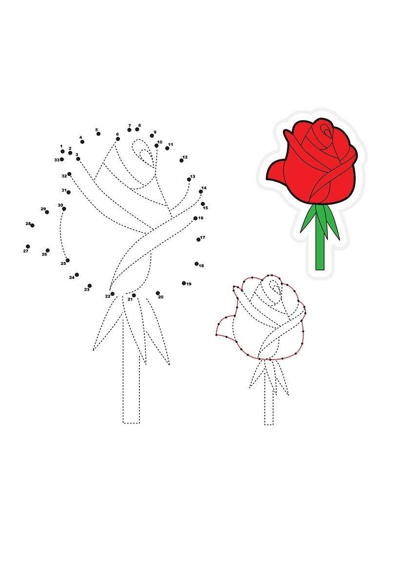 Роза по точкам - Картинка для раскрашивания красками-гуашью