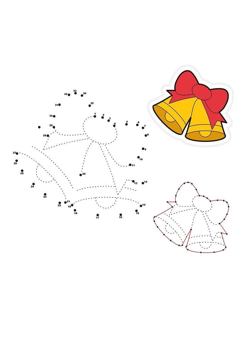 Рождественские колокольчики по точкам - Картинка для раскрашивания красками-гуашью