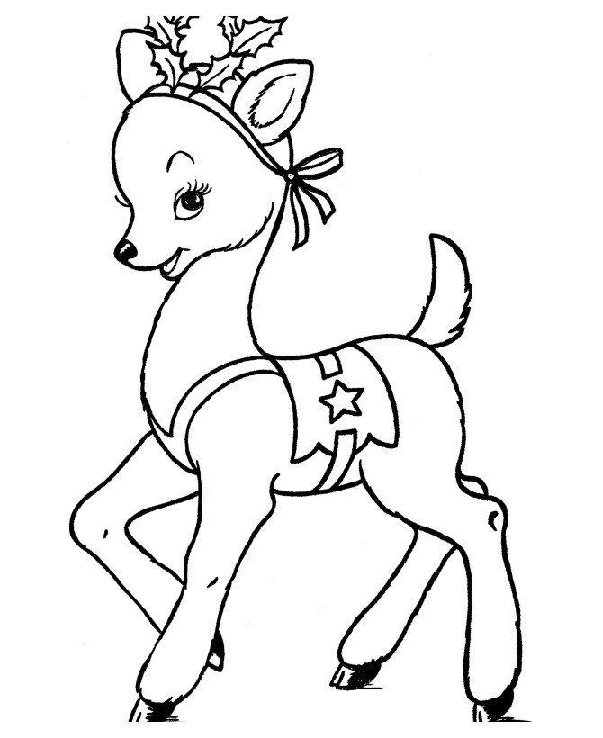 Рождественский олень - Картинка для раскрашивания красками-гуашью
