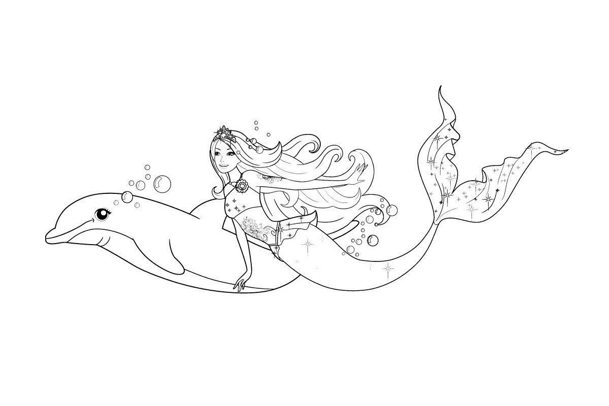 Картинка для раскраски «Русалка Барби с дельфином»