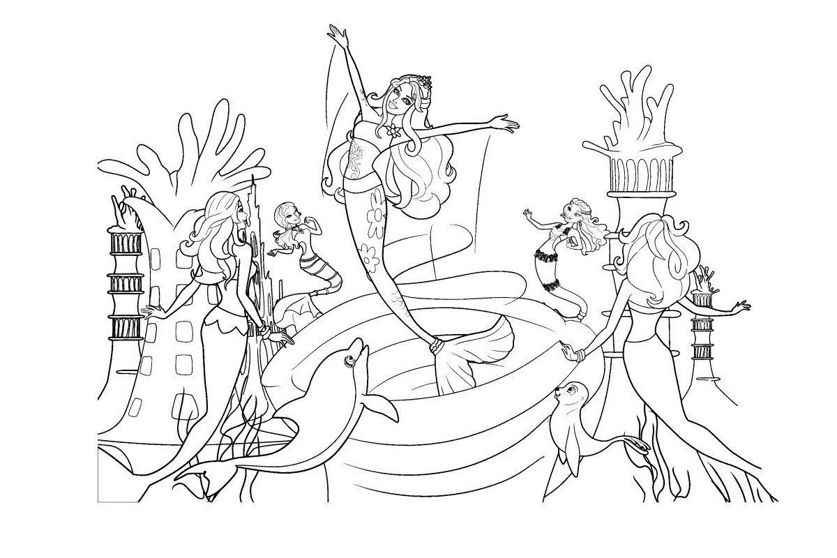 Русалки и водоворот - Картинка для раскрашивания красками-гуашью