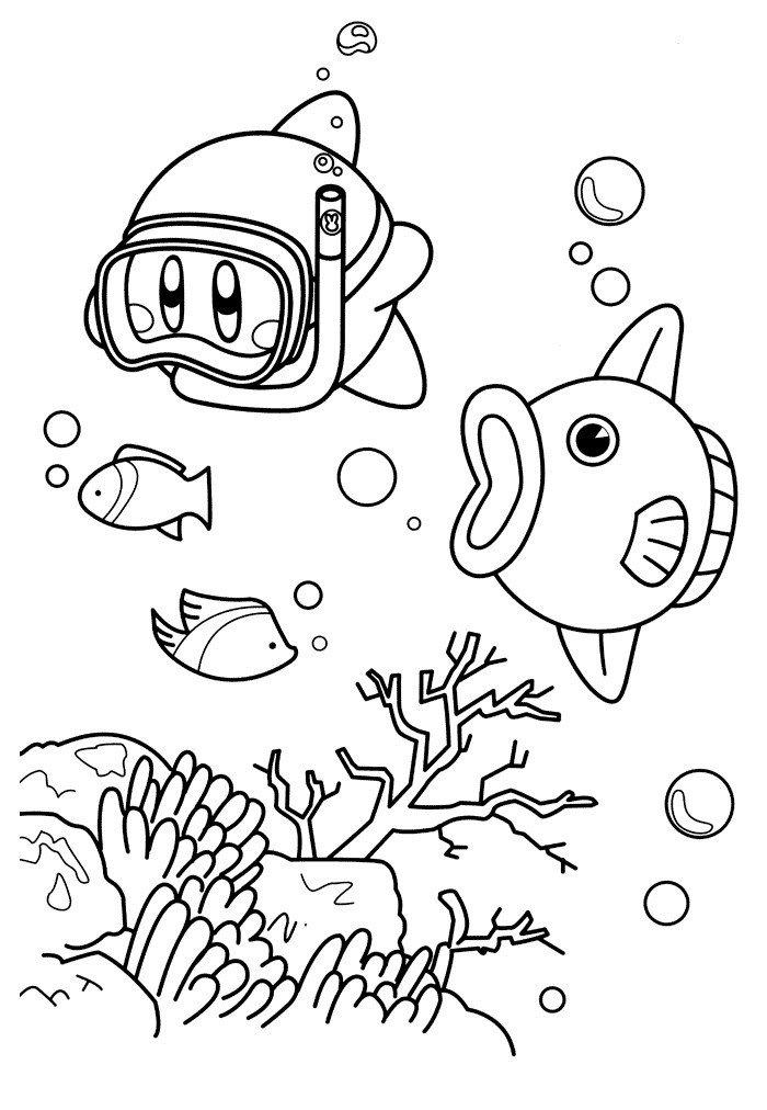 Рыба-солнце Кайн - Картинка для раскрашивания красками-гуашью