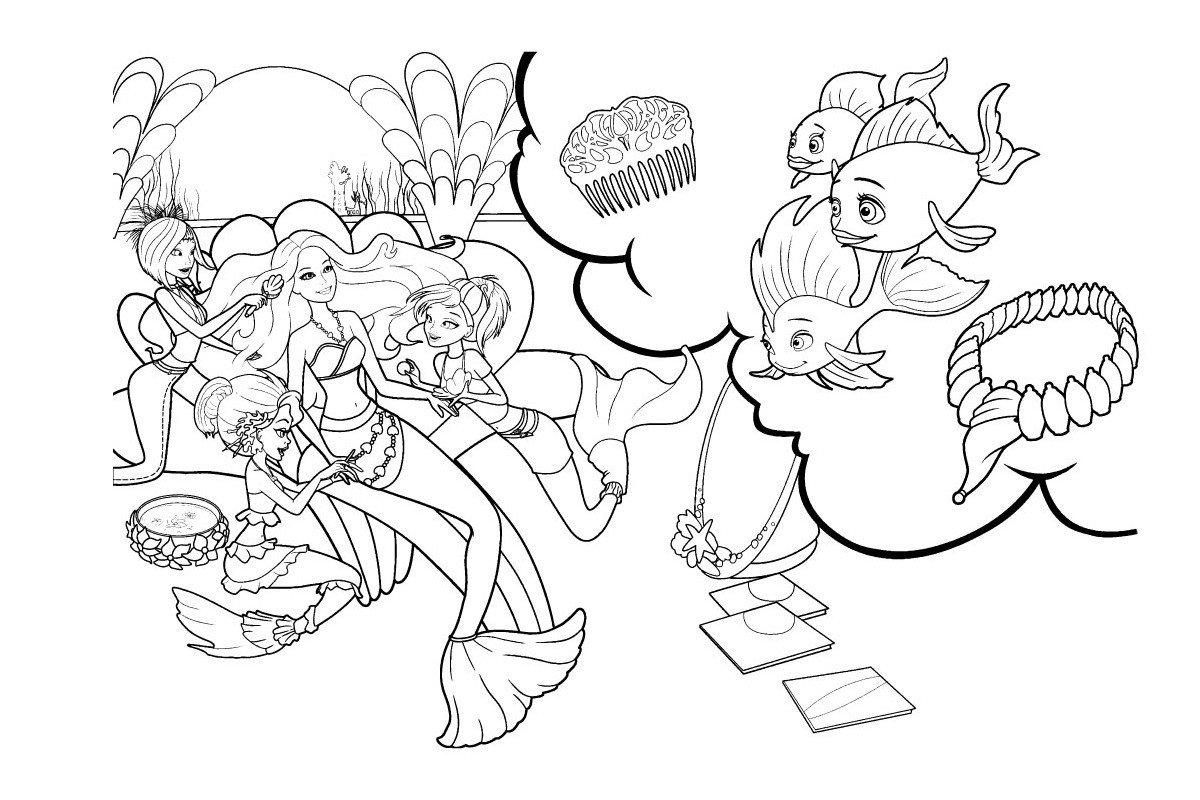 Рыбки любуются Барби русалочкой - Картинка для раскрашивания красками-гуашью