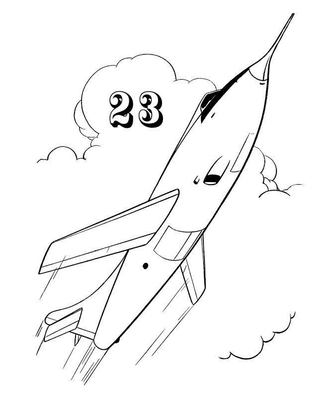 Самолёт к 23 февраля - Картинка для раскрашивания красками-гуашью