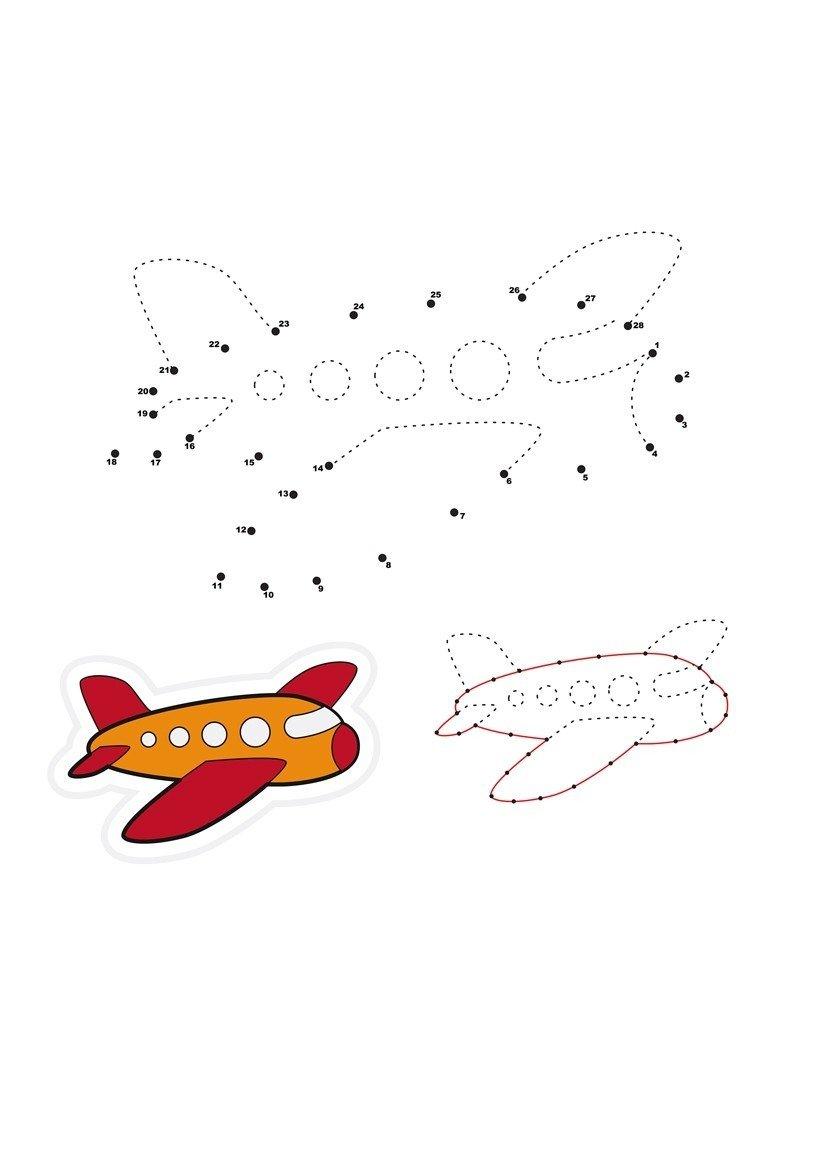 Самолёт по точкам - Картинка для раскрашивания красками-гуашью