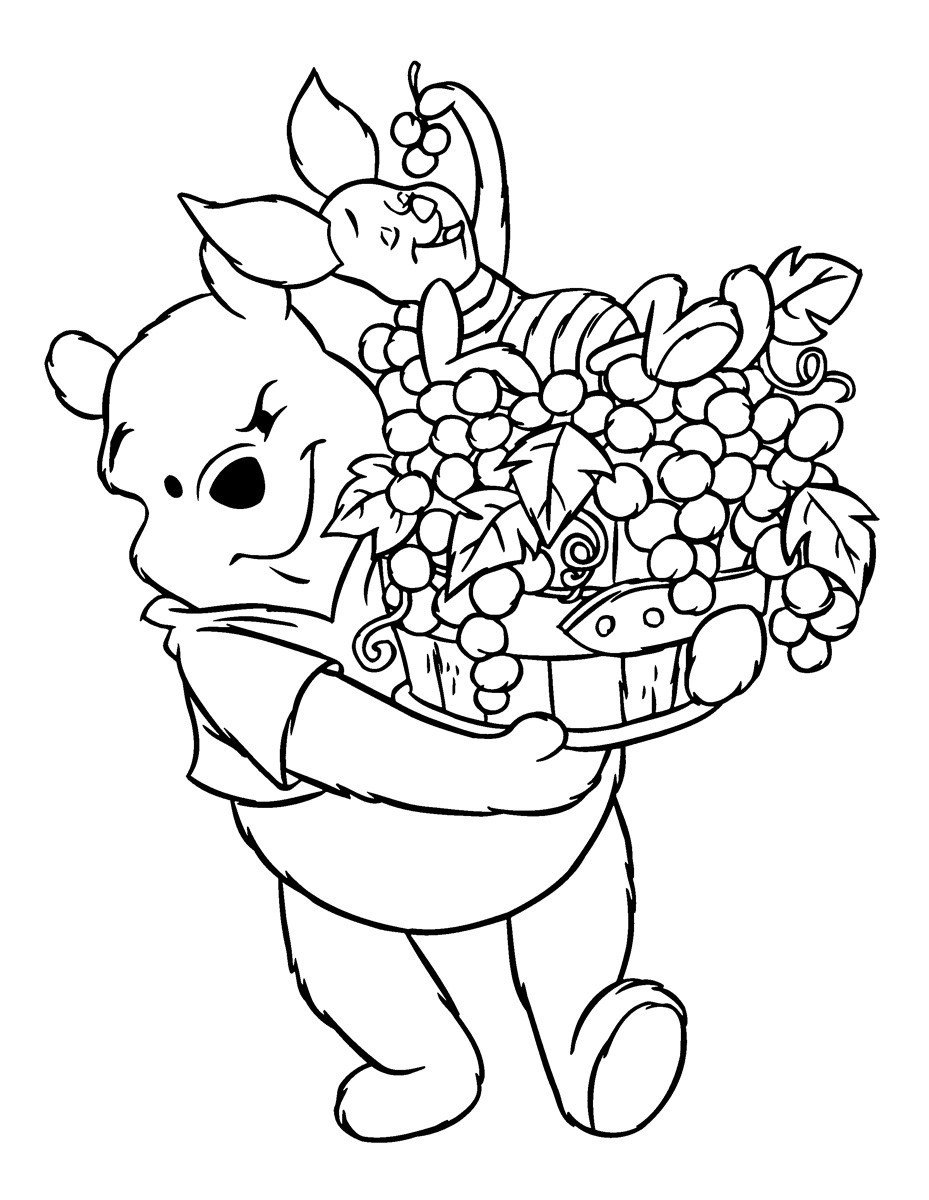 Картинка для раскраски «Сбор урожая с Винни-Пухом»