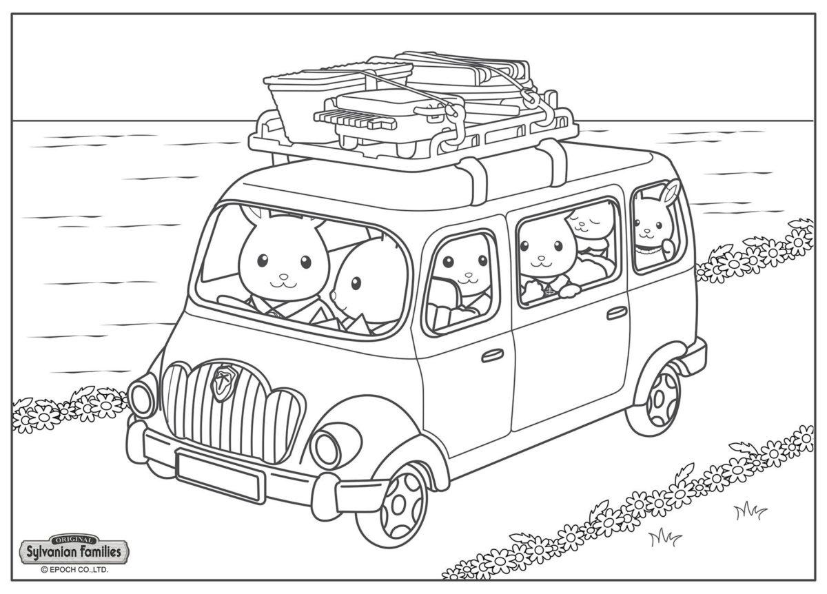 Семья в дороге - Картинка для раскрашивания красками-гуашью