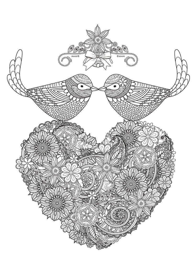 Сердце и две птицы - Картинка для раскрашивания красками-гуашью