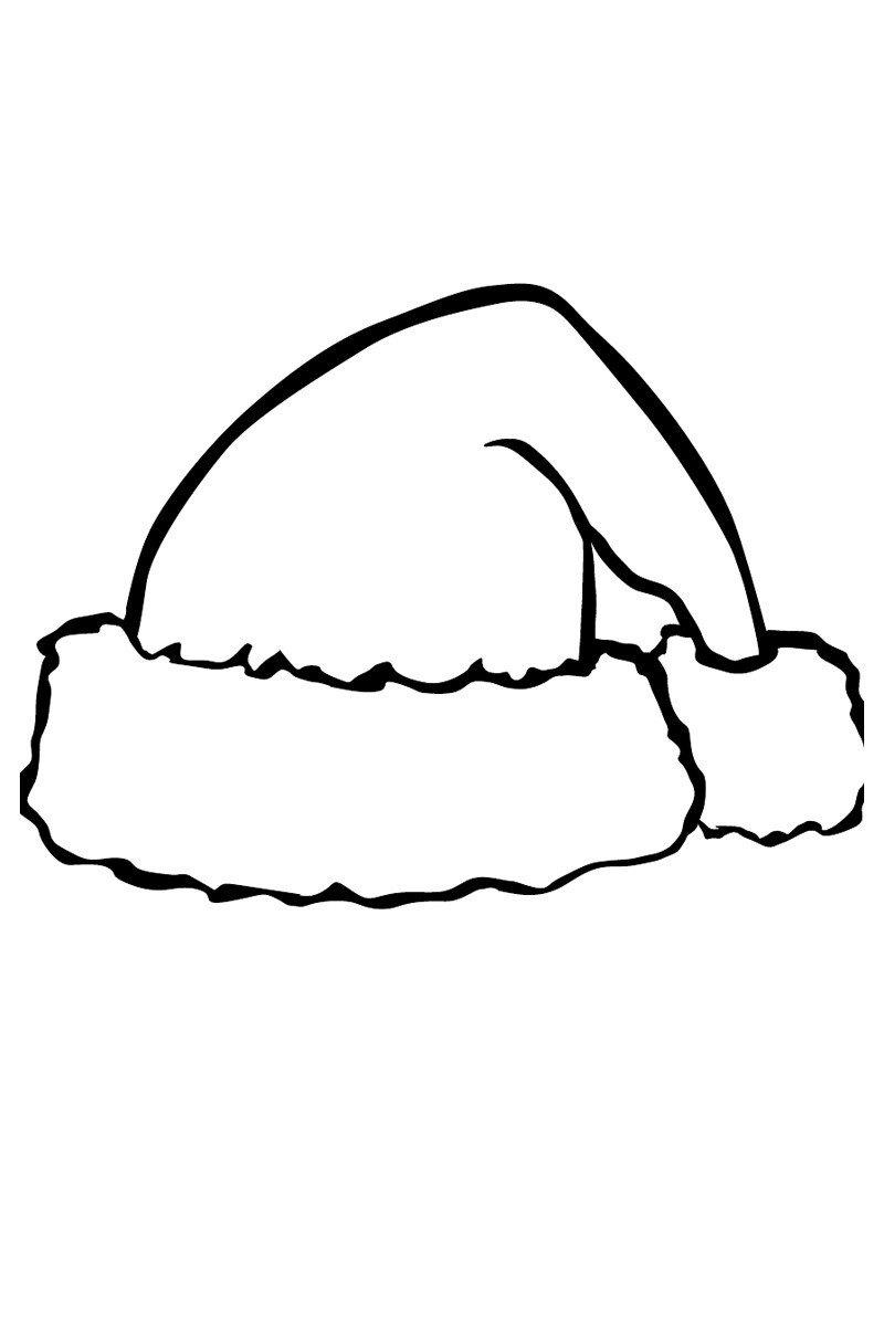 Шапка Деда Мороза - Картинка для раскрашивания красками-гуашью