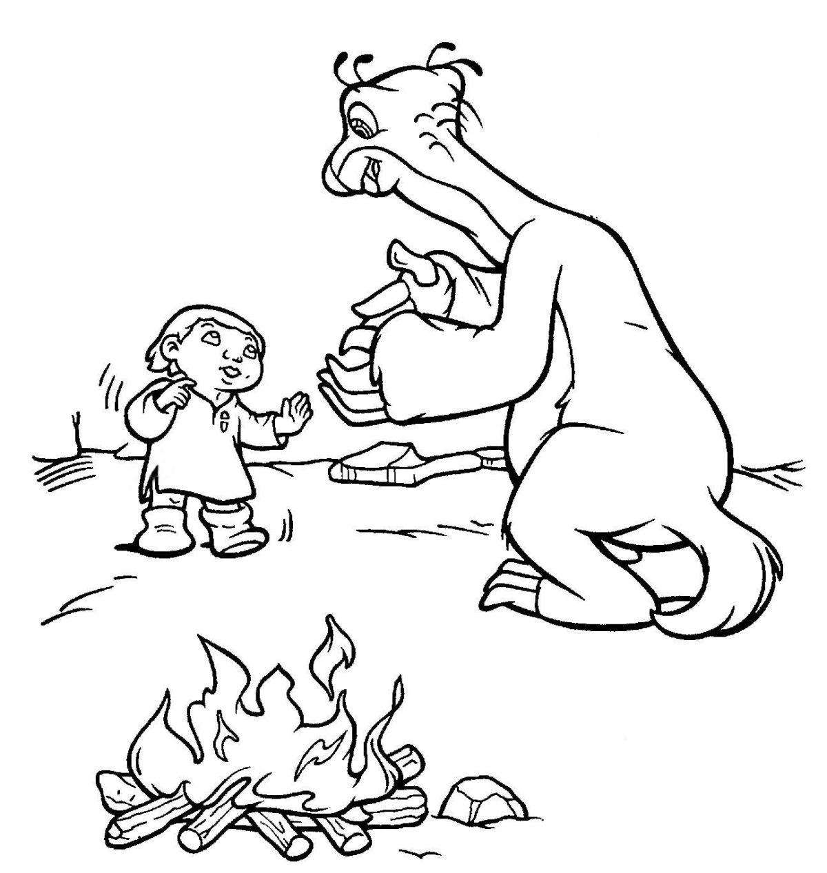 Сид с ребёнком у костра - Картинка для раскрашивания красками-гуашью
