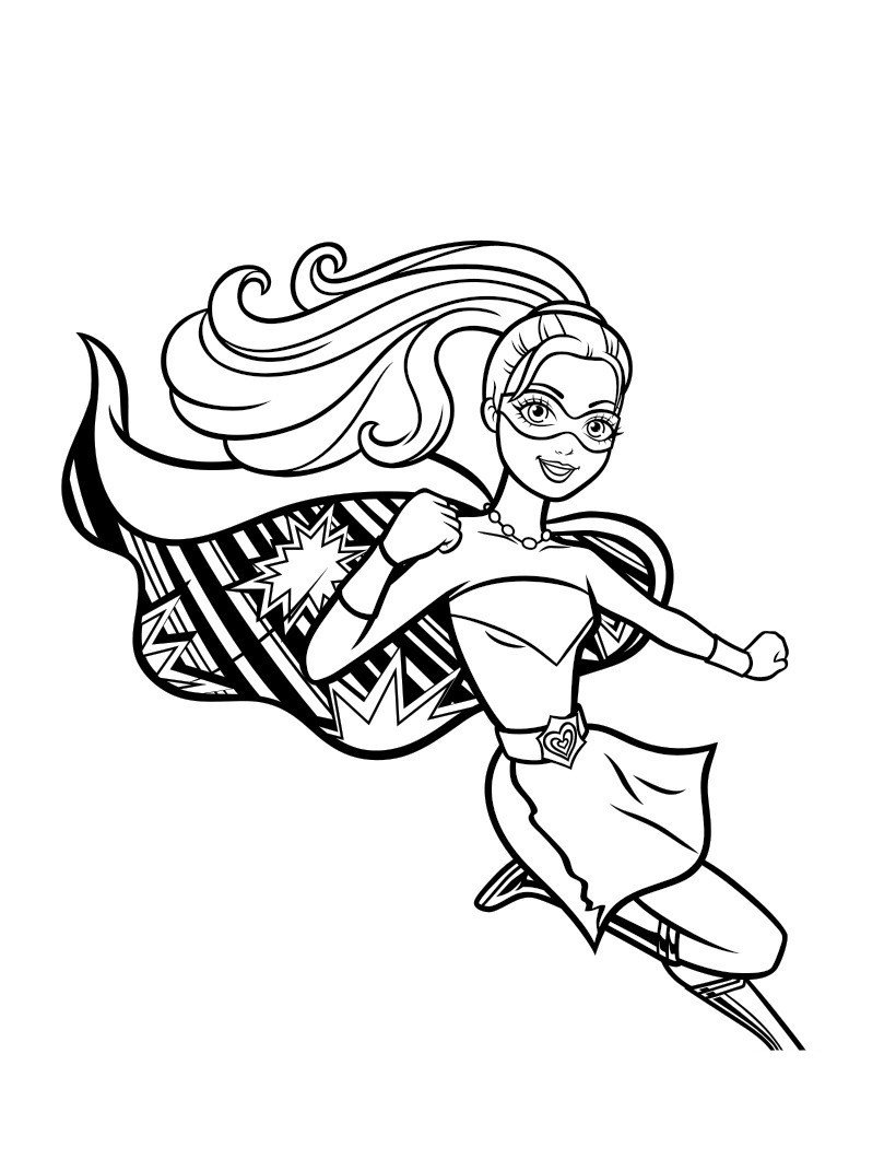Сила принцессы Барби - Картинка для раскрашивания красками-гуашью