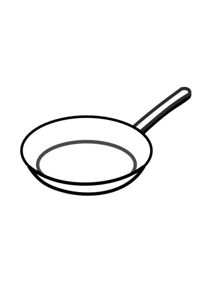 Сковорода - Картинка для раскрашивания красками-гуашью