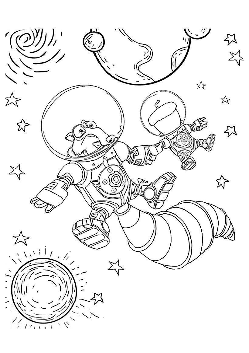 Скрат в открытом космосе - Картинка для раскрашивания красками-гуашью