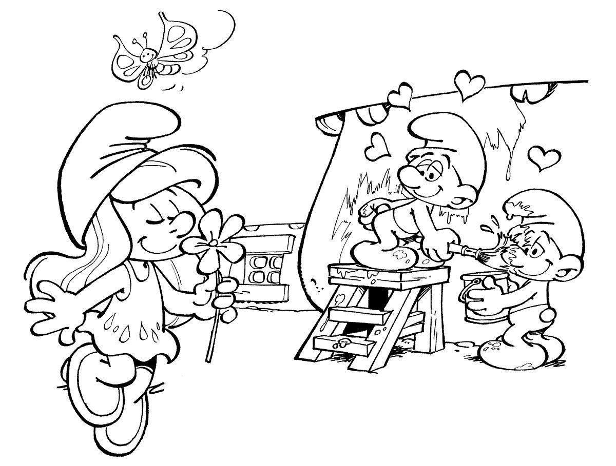 Картинка для раскраски «Смурфетта с цветочком и Смурфы»