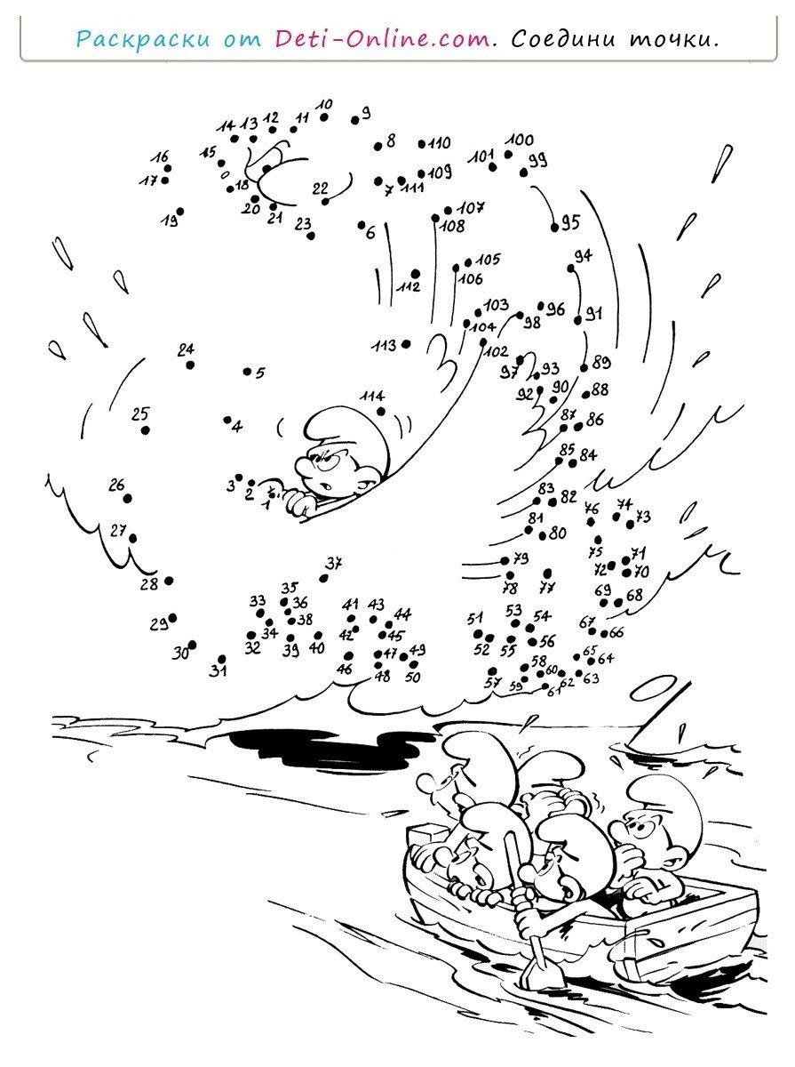 Смурфы и приключения по точкам - Картинка для раскрашивания красками-гуашью