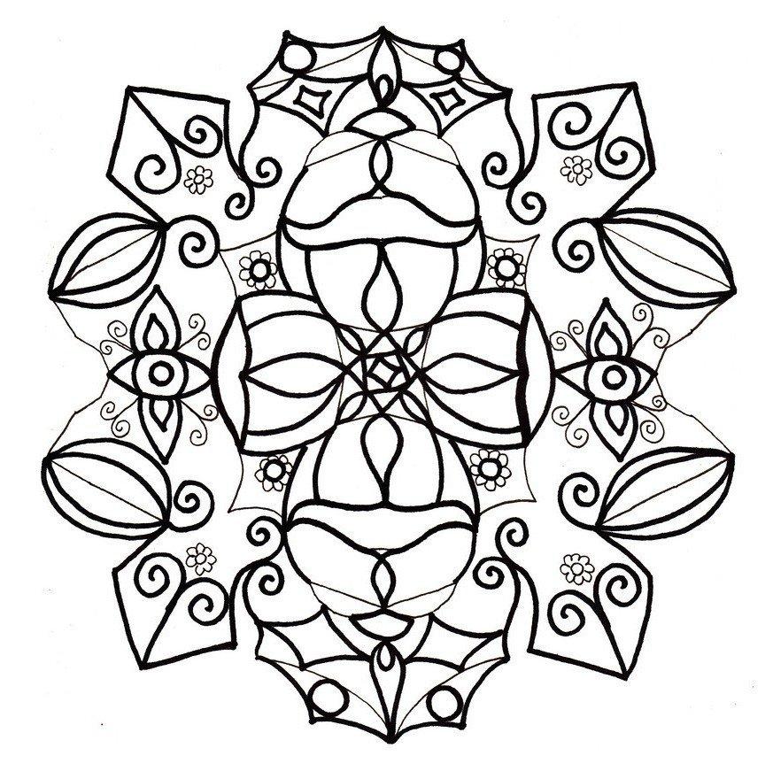 Снежинка - символ богатства - Картинка для раскрашивания красками-гуашью
