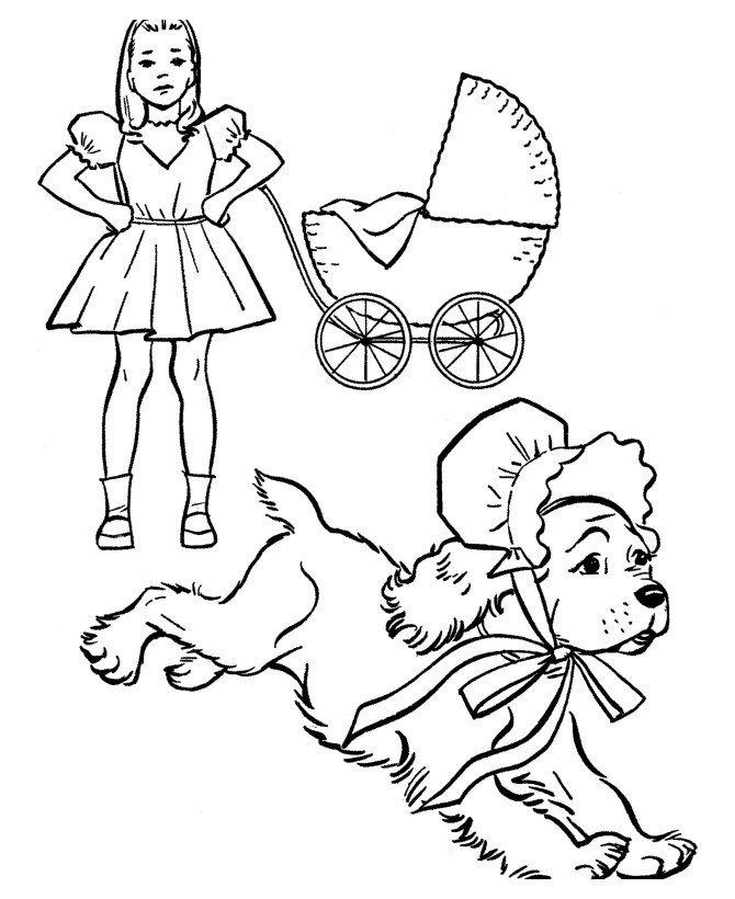 Картинка для раскраски «Собака в чепчике убегает от девочки»