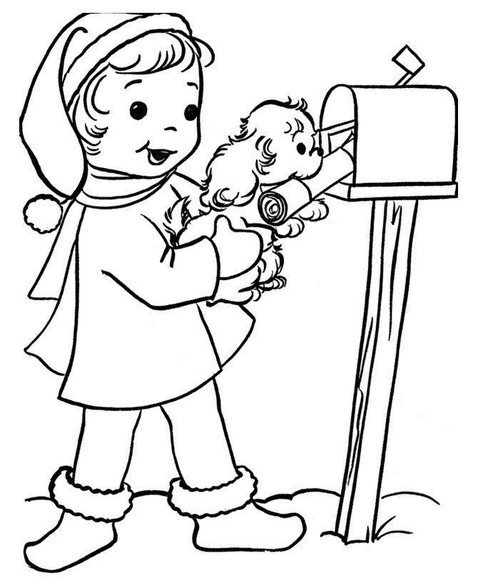 Картинка для раскраски «Собака забирает почту»