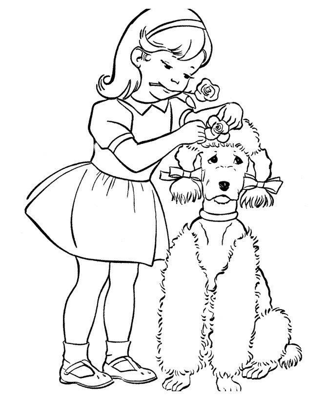 Картинка для раскраски «Собаку украшают цветочками»