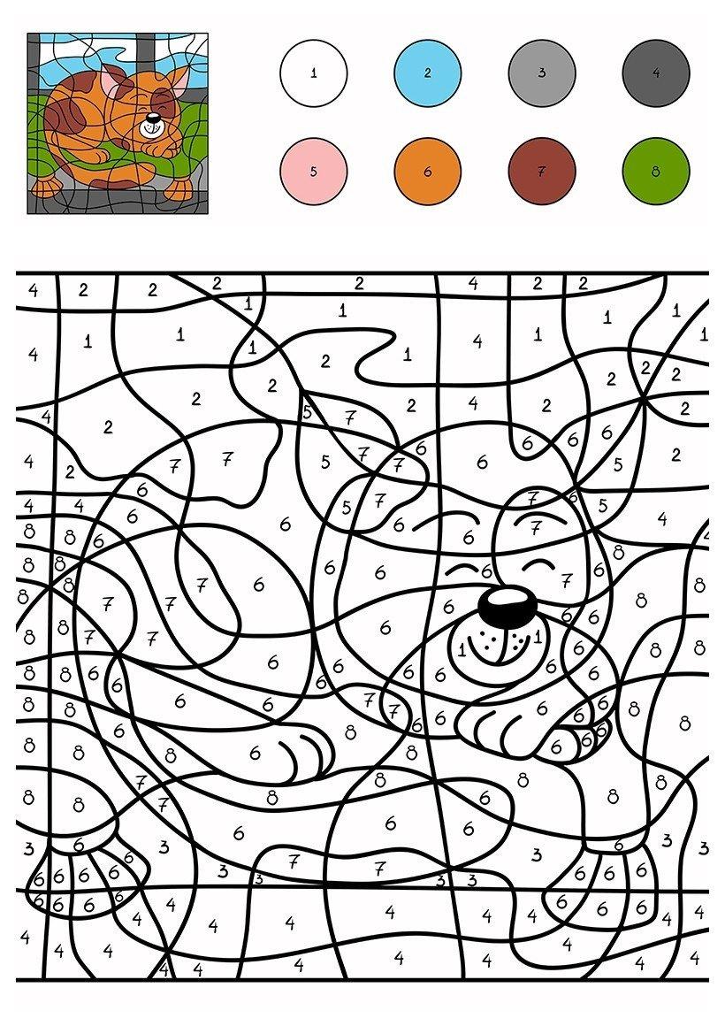 Спящий кот по цифрам - Картинка для раскрашивания красками-гуашью