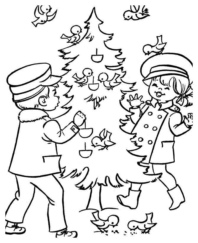 Стая птичек на елке и дети - Картинка для раскрашивания красками-гуашью