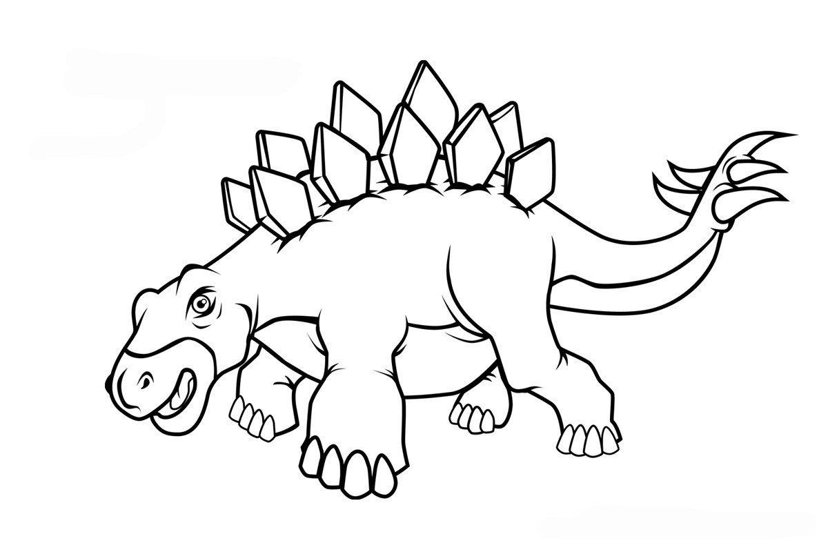 Стегозавр - Картинка для раскрашивания красками-гуашью