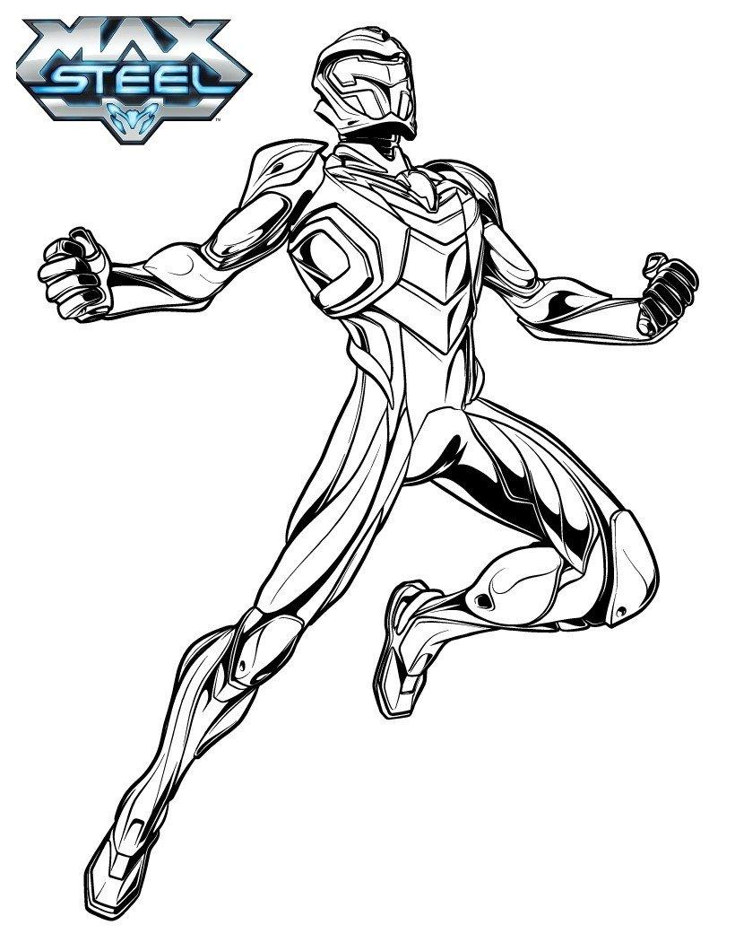 Супергерой Макс Стил - Картинка для раскрашивания красками-гуашью