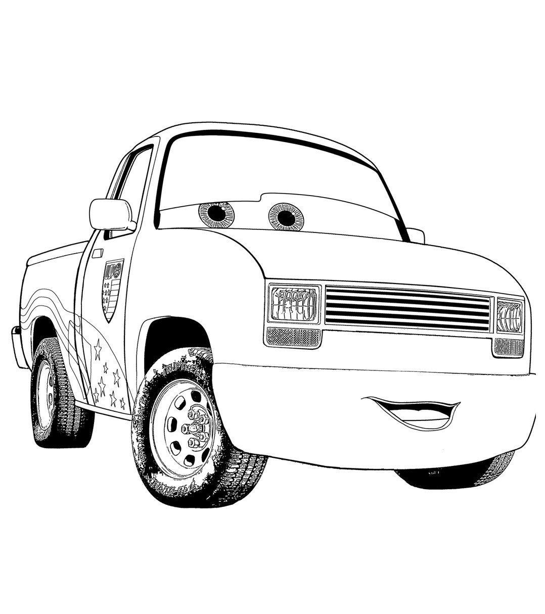 Тачка пикап - Картинка для раскрашивания красками-гуашью