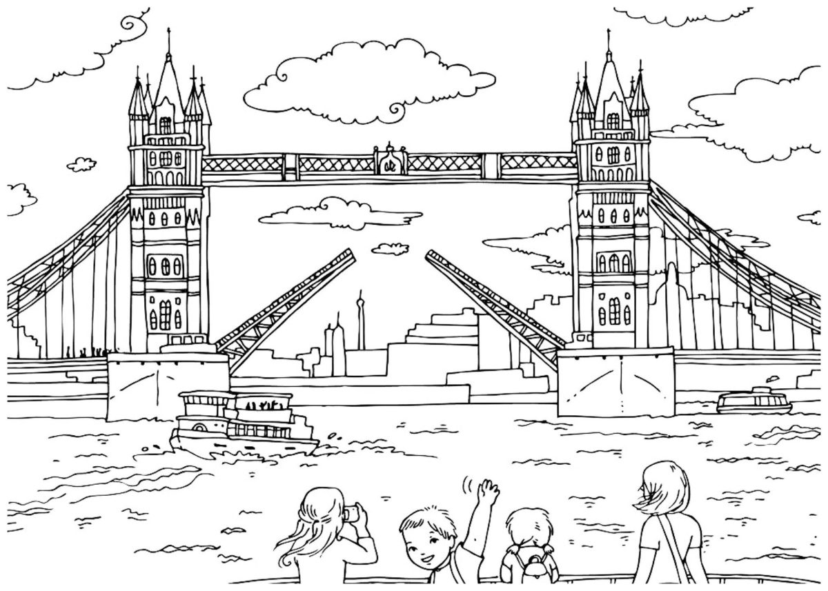 Тауэрский мост - Картинка для раскрашивания красками-гуашью