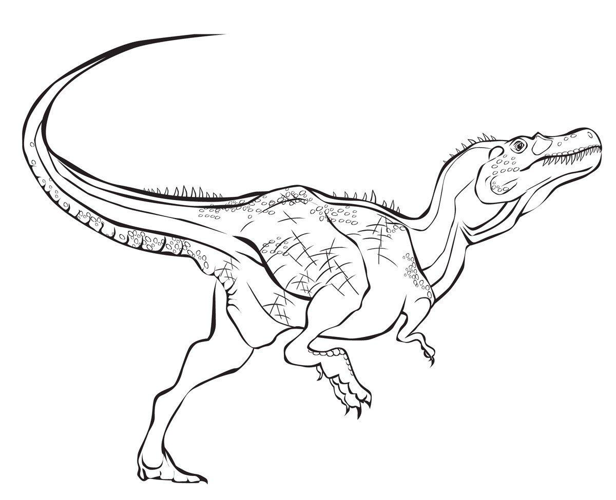 Тираннозавр - Картинка для раскрашивания красками-гуашью