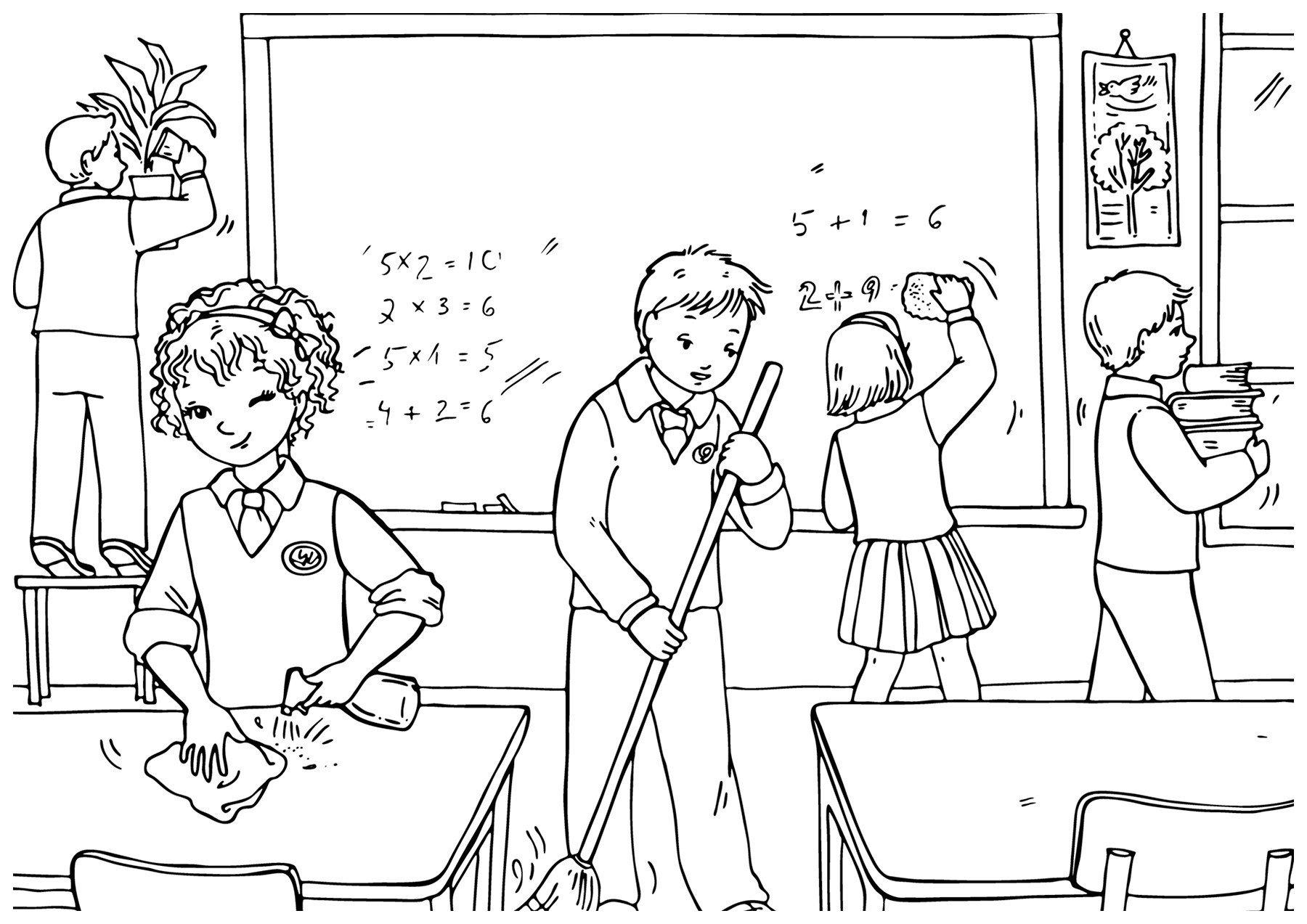 Картинка для раскраски «Уборка в классе»