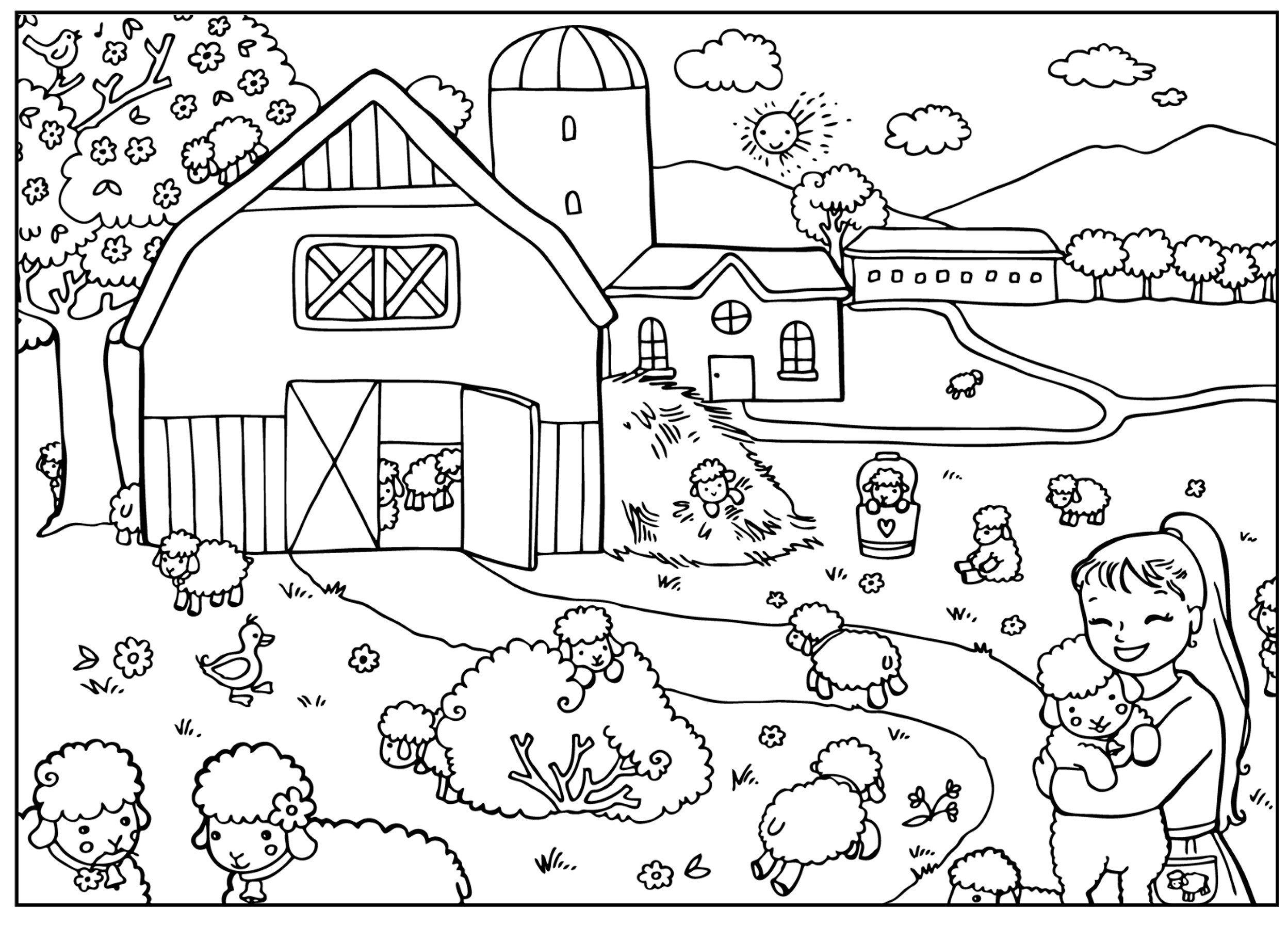 Картинка для раскраски «В деревне весной»