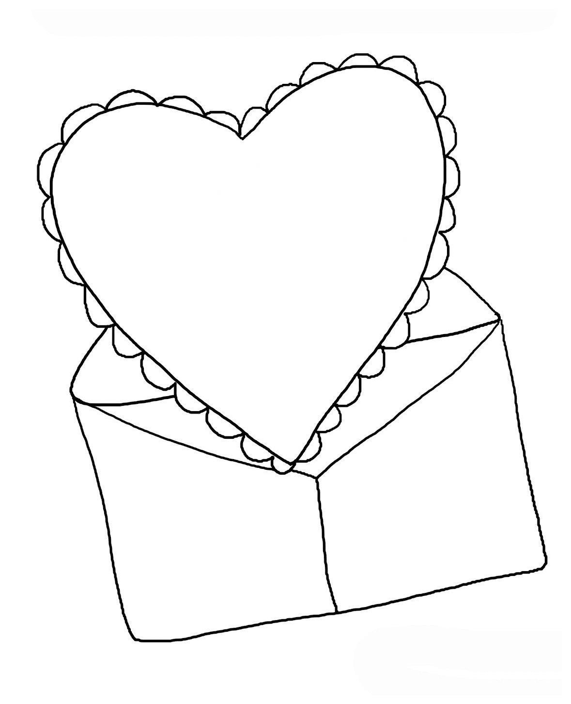 Валентинка в конверте - Картинка для раскрашивания красками-гуашью