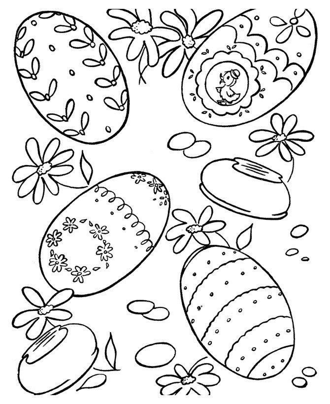 Варианты раскрашивания пасхальных яиц - Картинка для раскрашивания красками-гуашью